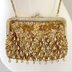 Vintage Gold Beaded Purse Clutch Cocktail Formal